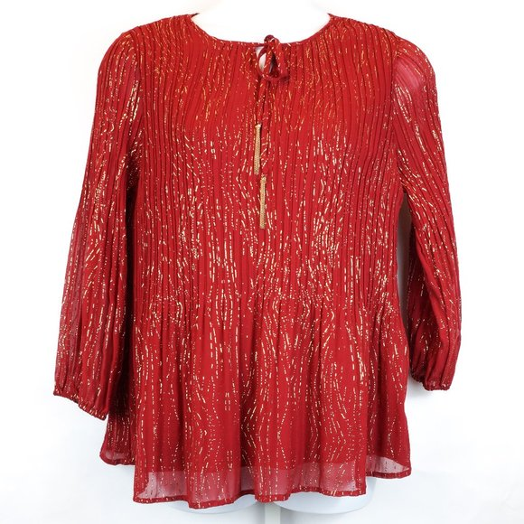 Catherines Tops - 3/$20 Catherines Blouse Red & Gold Glitter Crepe